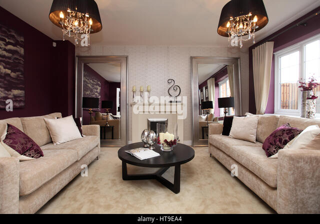 Home Interior, Lounge, Living Room, Purple Decor, Purple Feature Wall, Beige Part 16