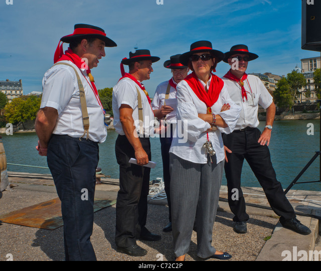 French Men Dressed In Traditional Stock Photos French Men Dressed