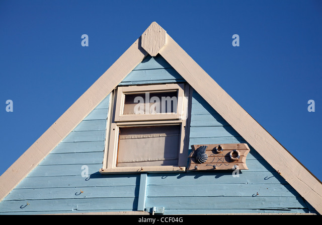 Apex Roof Of Beach Hut At Hengistbury In January Set Against Deep Blue Sky    Stock