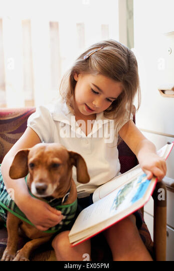 how much is a dog haircut on shoulder stock photos amp on shoulder stock 5138 | girl reading book to dog on chair ex05pm