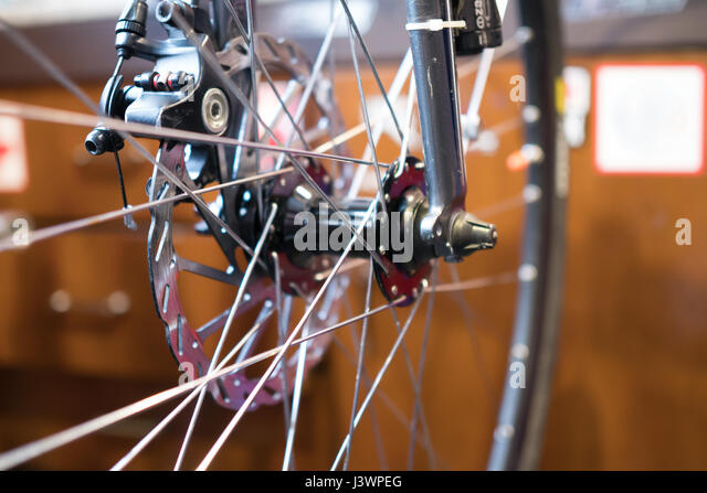 Bicycle wheel on blurred background - Stock Image