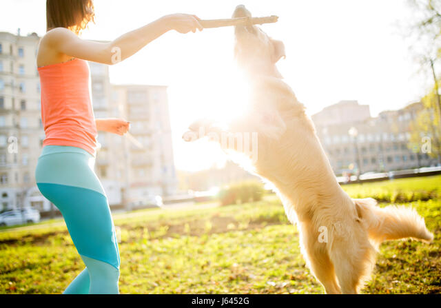Woman with dog and stick - Stock Image