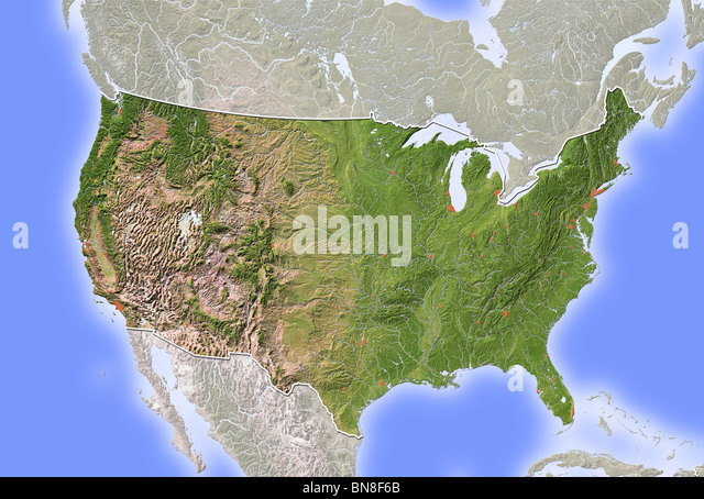usa shaded relief map stock image