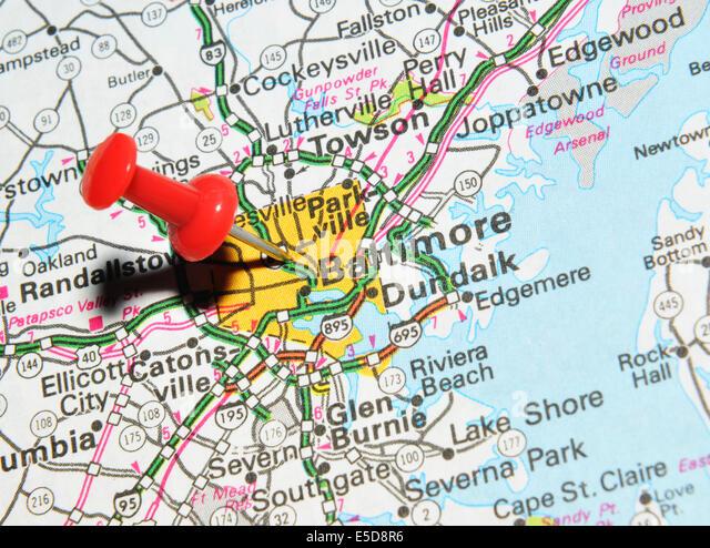 Baltimore City Map Stock Photos Baltimore City Map Stock Images - Us map baltimore maryland