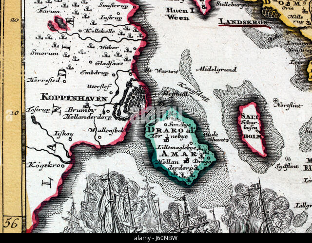antique card copenhagen fragment coloured atlas map of the world map old hand - Stock Image