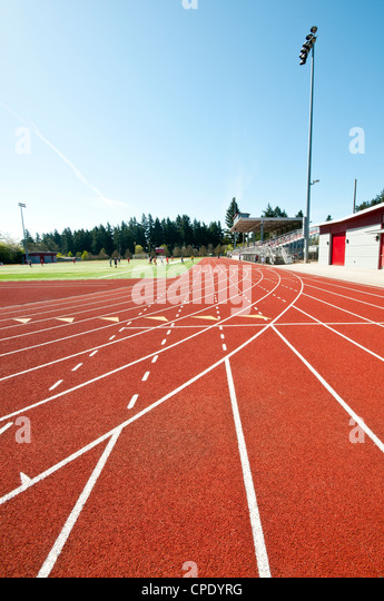 Track and field. Running track and soccer field. Football field ...