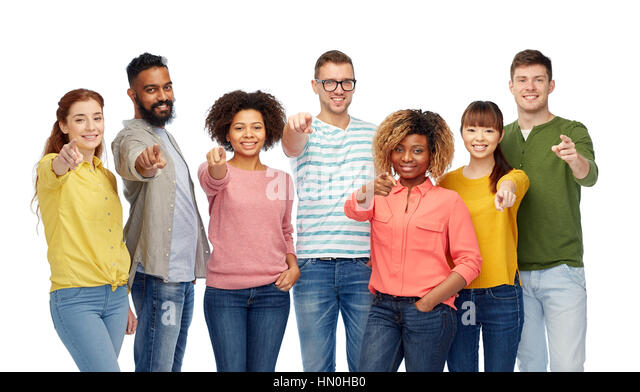 group friends pointing isolated stock photos amp group