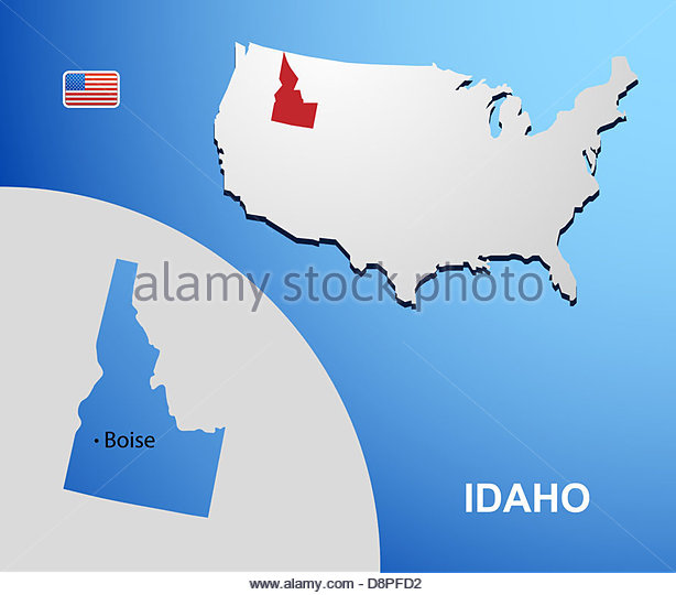 Idaho On Usa Map With Map Of The State Stock Image