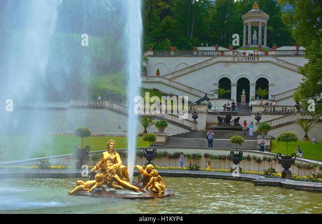 Golden Fountain Schloss Linderhof Palace Stock Photos