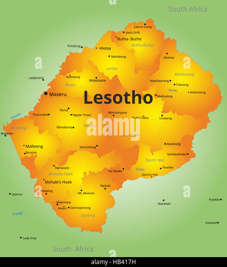 Kingdom lesotho maseru capital lesotho stock photos kingdom color map of lesotho country stock image sciox Images