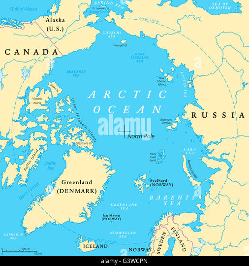 North atlantic ocean map stock photos north atlantic ocean map arctic ocean map with north pole and arctic circle arctic region map with countries gumiabroncs Image collections