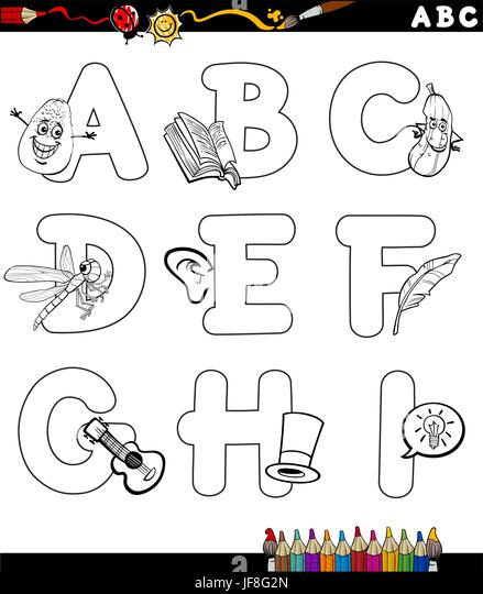 Cartoon Alphabet Coloring Pages : Coloring alphabet for kids stock photos