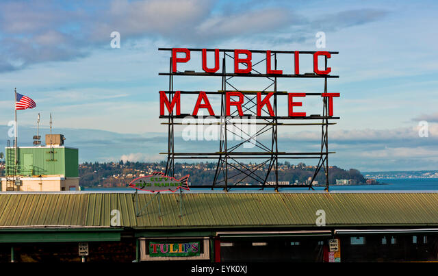 Pike market seattle stock photos pike market seattle for Famous fish market in seattle