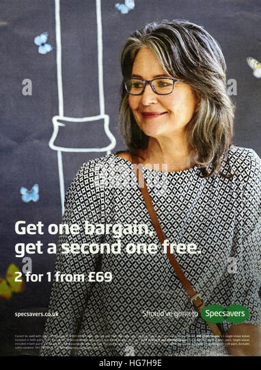 specsavers and advert stock photos specsavers and advert stock  2010s uk specsavers magazine advert stock image