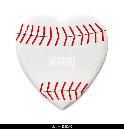 Heart Shaped Baseball Isolated on White Background. - Stock Image