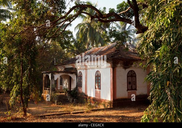 Portugese Bungalow near Anjuna, Goa, India - Stock Image