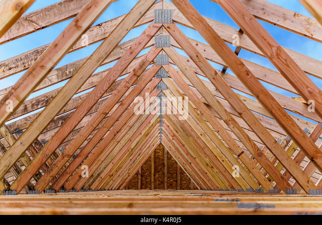 Architecture roof trusses stock photos architecture roof for Roof trusses installation