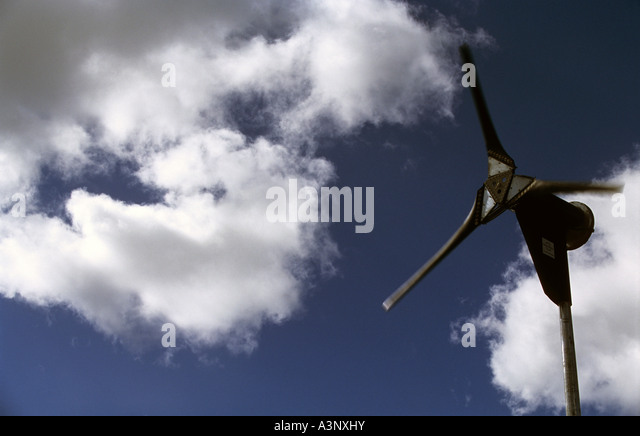 Micro Wind Turbine In The Garden Of A Residential Property Near Cambridge,  Cambridgeshire, UK