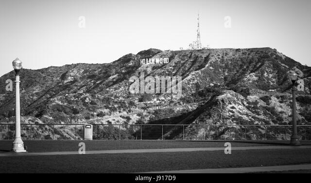 Hollywood Sign Black And White Stock Photos Images