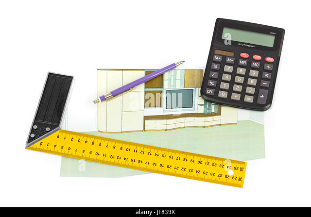 Building plan calculator ruler pencil stock photos for Apartment building cost calculator