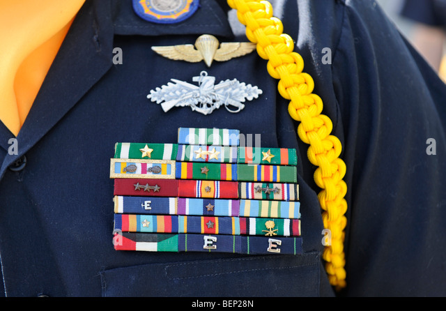 military veteran wearing decorations on dress uniform stock image - Military Decorations
