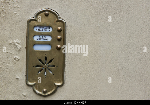 Old Fashioned Brass Door Bell Intercom On A Wall   Stock Image