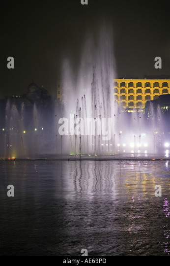 CHINA HANGZHOU Spectacular light and music water fountain show takes place  every half hour on West