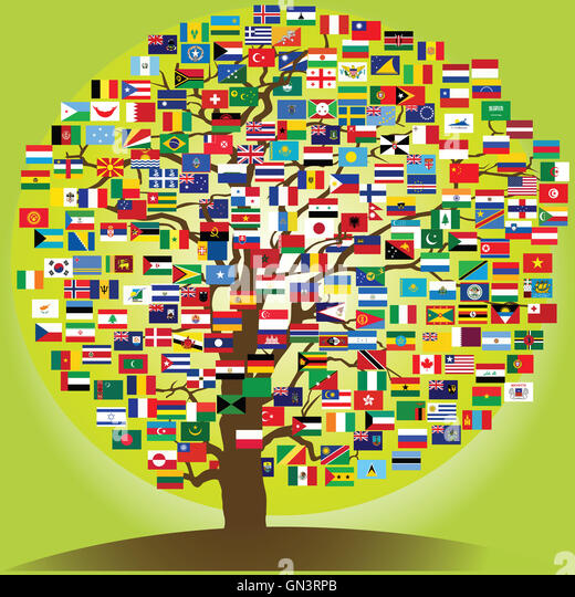 Official country flags world map stock photos official country peace tree with all world flags stock image gumiabroncs Images