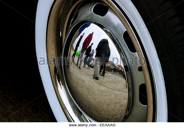 reflection form classic vw hubcap at hoylake fair stock image
