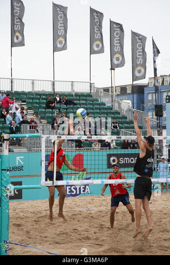 chair volleyball net. mens game in progress at the world beach volleyball championships taking place on blackpool - chair net 0