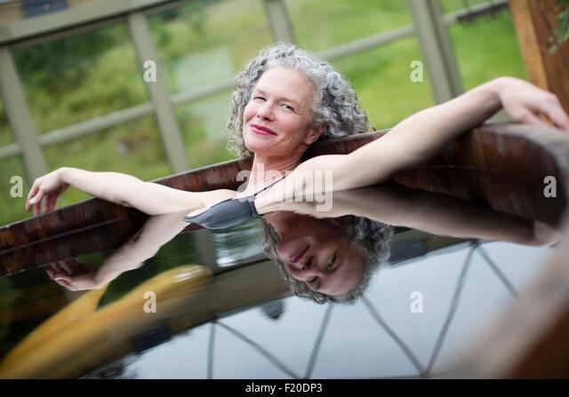 Woman Relaxing Hot Tub Stock Photos & Woman Relaxing Hot Tub Stock ...