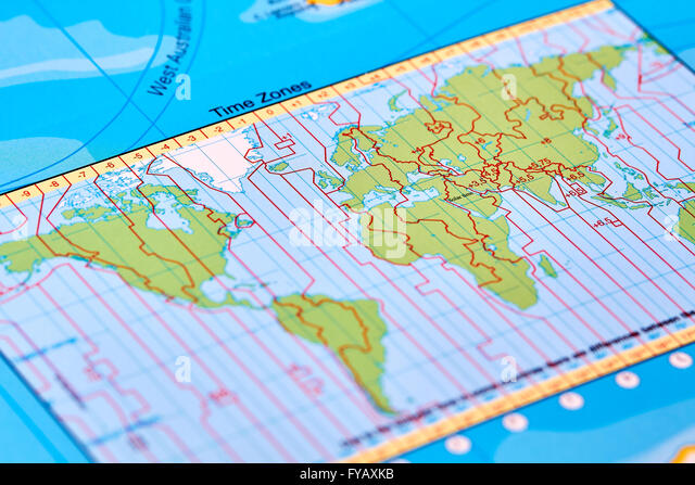 World Time Zones Map Stock Photos World Time Zones Map Stock - Global time zones map