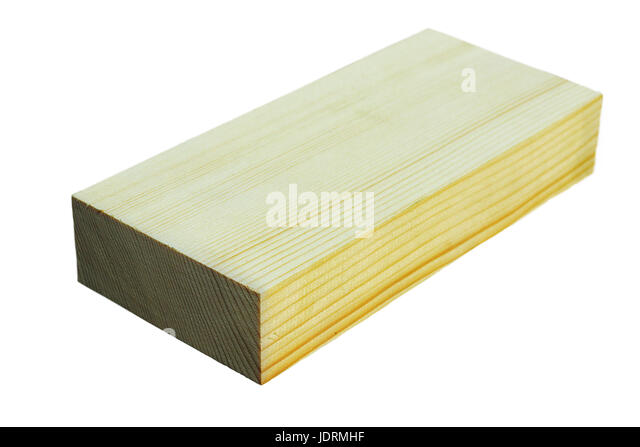 piece of fir wood ( Abies alba ) isolated over white background - Stock Image