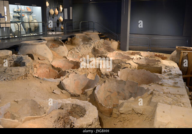 Roman Docks Museum with Roman Amphora or Storage Jars Marseille or Marseilles France - Stock Image