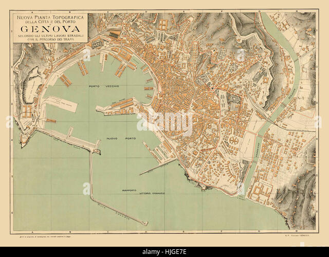 Historical Map Of Genoa Stock Photos Historical Map Of Genoa Stock