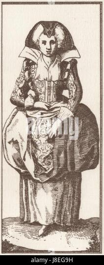 Faemina Plebeia Parisiensis Femme bourgeoise de Paris, map of Paris by Claes Jansz. Visscher - Stock Image