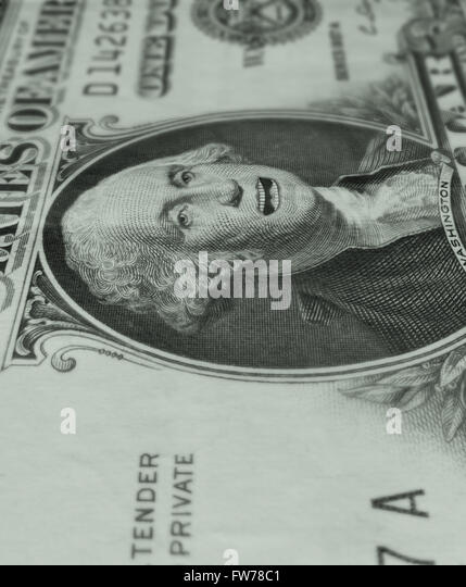 George Washington on the one dollar bill with his mouth open, speaking ...