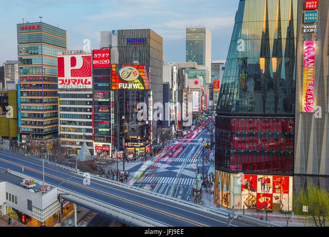 Japan, Tokyo City, Ginza area, Harumi Dori avenue - Stock Image