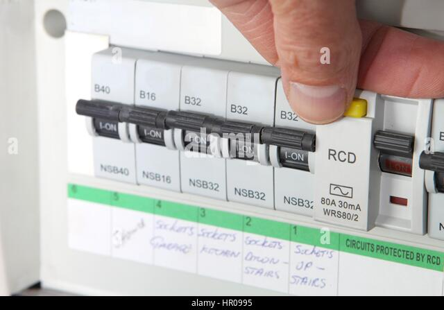 testing an rcd residual current device on a uk domestic electrical hr0995 uk electrical fuse box stock photos & uk electrical fuse box stock fuse box cover at crackthecode.co
