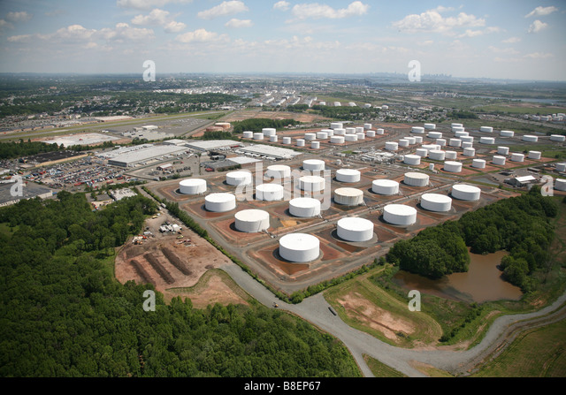 Aerial View Of Oil Storage Tanks In Linden NJ, USA, United States Of America