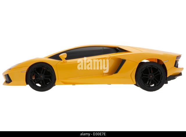 Plastic Toy Lamborghini Aventador On White Background   Stock Image