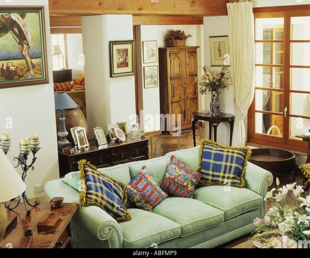 Living Room In Spanish Green Sofa In Traditional Living Room In Spanish Villa Stock Image