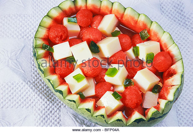 ALI 62145 : Almond bean curd and melon ; India - Stock Image
