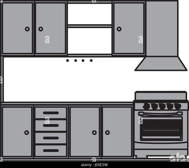 Grayscale Silhouette Kitchen Cabinets Stove Stock Photos ...