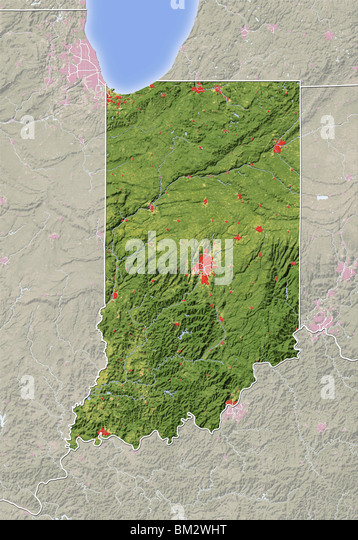 Physical Map Indiana Stock Photos Physical Map Indiana Stock - Indiana physical map