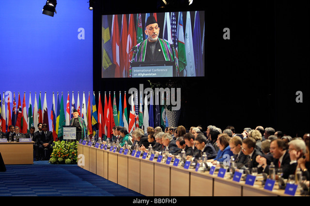 hamid karzai president of afghanistan at the international conference on afghanistan stock image