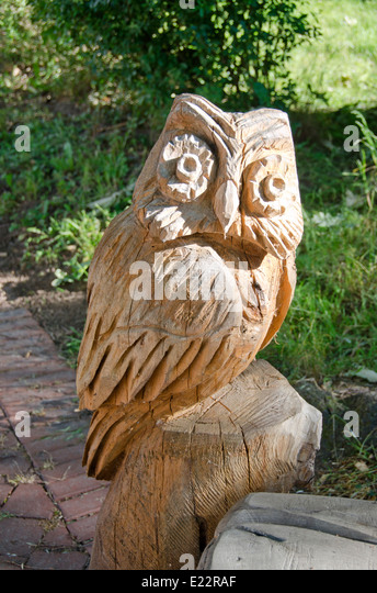Carved owl stock photos images alamy