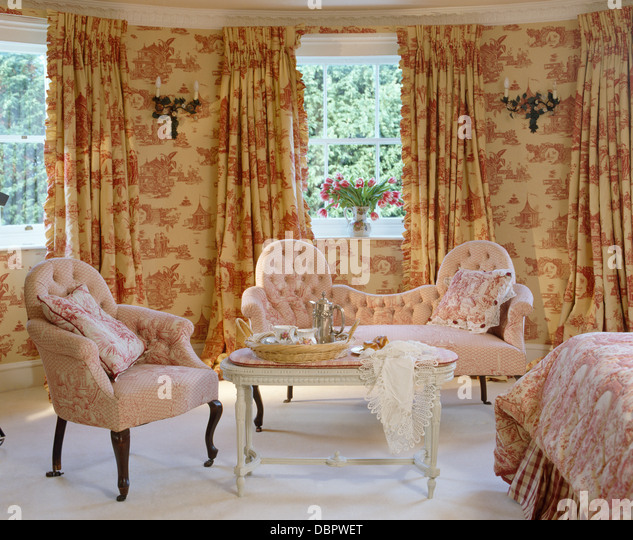 Curtains Ideas curtains matching wallpaper : Pink Toile De Jouy Curtains Matching Wallpaper Stock Photos & Pink ...