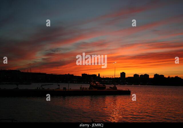 Sunset in Helsinki - Finland - Stock Image