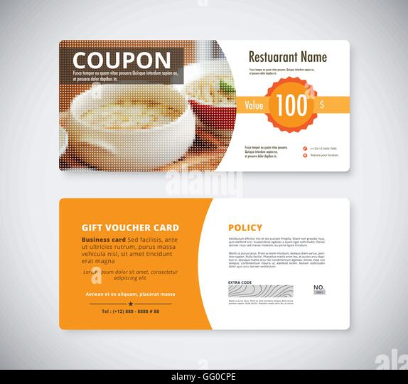 Gift Coupon Voucher Template For Restaurant. Flyer Brochure Vector Stock.    Stock Image  Coupon Voucher Template